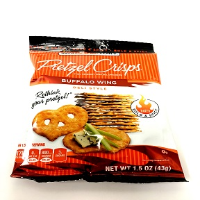 Snack Factory® Pretzel Crisps® Buffalo Wing F40-4587803-8100 - 1.5 oz. bag. Baked Bold & Spicy. Thin, crunchy pretzel crackers.