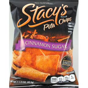 Stacy's Brand Pita Chips - Cinnamon Sugar F40-4840402-8200 - 1.5 oz sealed bag.