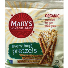Mary's Gone Crackers® Everything Pretzels F40-4932406-8200 - 1.25 oz. in sealed package.