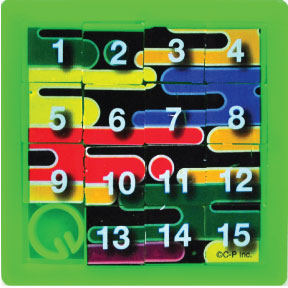 Puzzle - Number G01-0159903-8100 - Numeric plastic puzzle. Push tiles around puzzle to form a number sequence when completed. Colors May Vary.