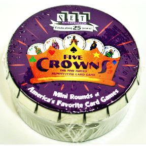 SET® Five Crowns Mini Round G01-0360801-9000-card game in a mini round tin.