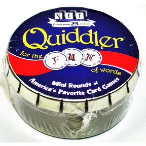 SET® Quiddler Mini Round G01-0360802-9000-card game in a mini round tin.