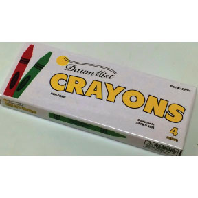 Crayon 4 pack G05-0559901-8200 - Ages 3 & up.  Four color crayons in individual box. Non-toxic.