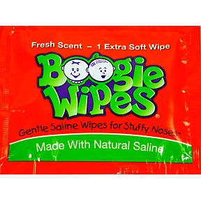 Boogie Wipes® Original- Fresh Scent J01-0162001-1000 - 1 Gentle Saline Wipe for Little Noses. Wipe is in individually sealed travel size plastic packet.