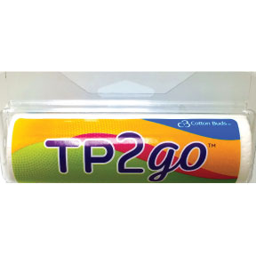 Cotton Buds™ TP2Go™ Travel Toilet Tissue J01-0223104-8200 - 75 sheet 2-Ply roll in travel size plastic pull-out dispenser.