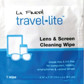 LA Fresh travel-lite™ Lens & Screen Cleaning Wipe J01-0316802-1000 - 1 wipe in a sealed, travel size packet.