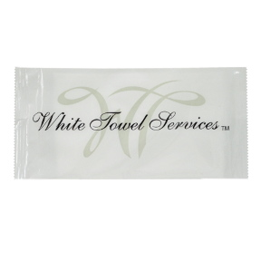 White Towel Services Synthetic Towelette Lemon J01-0761712-8100-1 packaged lemon scented towelette.