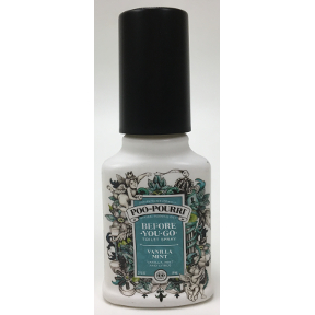 Poo-Pourri® Vanilla Mint 2 oz, J03-0162619-8200, 2 fl oz pump spray bottle. Before-You-Go® Toilet Spray that makes the odor go away!