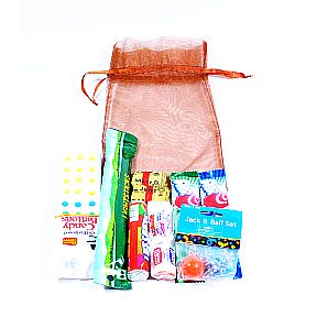 Goodie Bag K01-1259901-5120-10 products in a bronze organza drawstring bag.