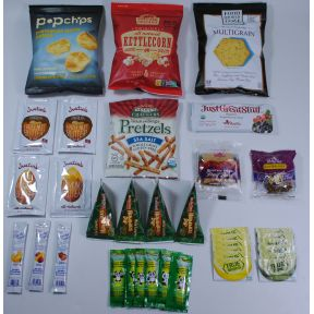 Gluten Free Snack Sampler K01-2059931-2100 - Kit contains 17 different products (36 total) in a plastic drawstring bag.