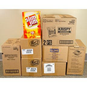 Food Kit Packing Party - 100 kits - Small Set K03-1059971-9010-Makes 100 kits, bulk products including clear plastic bag with drawstrings.