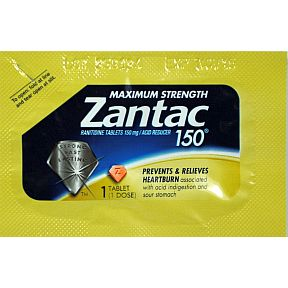 Zantac® 150 Maximum Strength P01-0112002-1000-150 mg tablet. Acid Reducer. Strong. Fast. Lasting.