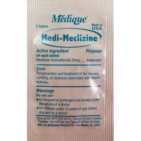 Medique Medi-Meclizine for motion sickness P01-0127414-1000 - 2 tablets in travel size individually sealed packet.