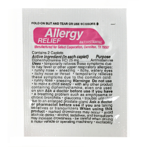 Prime Aid Allergy Relief Antihistamine, P01-0143807-1000, 2 allergy releif tablets in a travel size individually sealed packet.