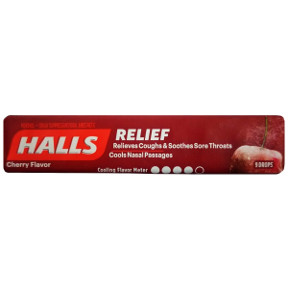 Halls Cherry Cough Drops P01-0452502-4200 - 9 drop individually wrapped sticks