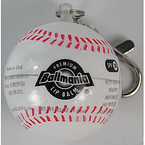 Ballmania Lip Balm - Baseball Keychain Globe - Vanilla P02-0166902-9100 - Lip balm baseball shape container on key chain.