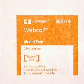 Covidien Webcol Alcohol Prep P03-0124802-8000 - 1 sterile 2-ply pad in individually sealed travel size package.