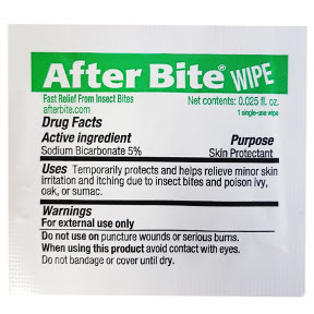 After Bite Insect sting relief wipe P03-0125801-8000 -1 itch eraser wipe in individually sealed travel size packet. Fast relief from insect bites.