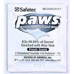 Safetec Personal Antimicrobial Wipes (P.A.W.S.) P03-0125902-1000