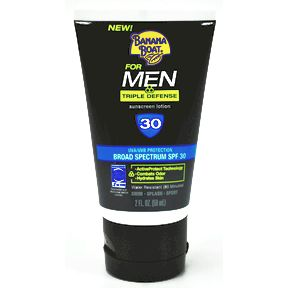 Banana Boat® For Men Triple Defense Sunscreen Lotion SPF 30 P04-0127708-8200-2 fl oz broad spectrum SPF 30 sunscreen lotion.