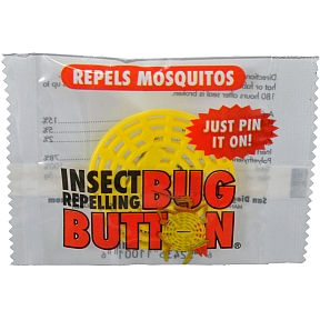 Bug Button P04-0129901-9000 - Travel size pin-on insect repellent button. Protects against all insect bites. Non-toxic. Individually wrapped. Lasts up to 60 hours. Great for all outdoor activities.