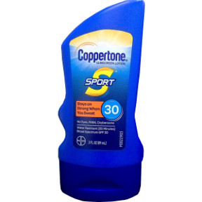 Coppertone Sport SPF30 3 oz P04-0133001-8300 - 3 oz travel size sunscreen lotion in plastic tube