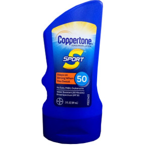 Coppertone® Sport® High Performance SPF50, P04-0133002-8300, 3 fl oz travel size sport sunscreen lotion. SPF50