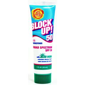 Fruit of the Earth® Block Up! Kids sunscreen SPF 50 P04-0140204-8100-1 oz. tube of broad spectrum SPF 50 sunscreen for kids.