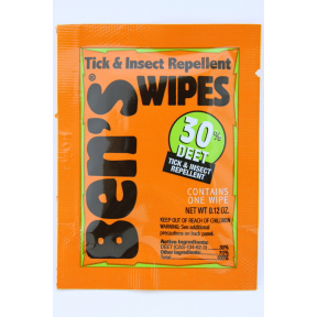 Bens Tick & Insect Repellent Wipes P04-0255801-8000 - 1 travel size tick and insect repellent wipe in individually sealed packet. 30% deet.