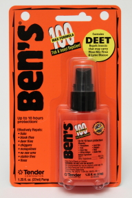 Bens 100 Deet Tick & Insect Repellent Spray P04-0255803-8200 - 1.25 fl oz travel size insect repellent in plastic pump bottle. 98% deet. Up to 10 hours protection.