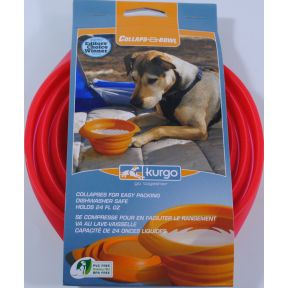 Kurgo Collaps-a-Bowl - Red QS2-0641901-9100-24 fl oz capacity collapsible pet travel bowl.