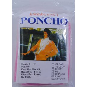 Generic Emergency Poncho - Pink S01-0459904-9000 - Travel size hooded poncho. One size fits all.