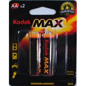Kodak Max Alkaline Battery Aa 2 Pack Travel Size