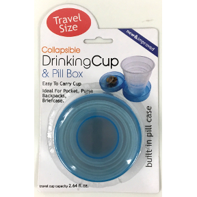 Collapsible Plastic Cup S02-0609905-9100 - Plastic collapsible travel cup & pill box. Includes capped compartment in lid. Colors vary.