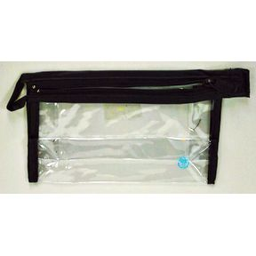 Bag, Vinyl, top zipper w/ hang loop, 6x4x1.5- black S04-0189934-2201-A single black, vinyl bag with a top zipper and hang loop for packaging.