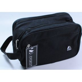 Dual Compartment Toiletry Bag S04-0259903-9212 - Travel size toiletry bag features dual zipper compartments, front zipper pocket and convenient carry handle. Ideal to create your own toiletry kit.