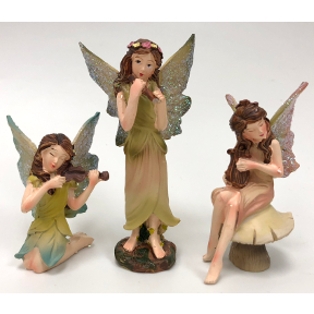 Polystone Mini Classic Fairies Playing Music (3 pc set), U03-0101232-0043