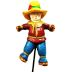 Polystone Mini Country Scarecrow U03-0101232-0190-a single miniature scarecrow on a stake. Garden decor.