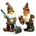 Polystone Mini Woodland Gnomes 1 (2 pc set) U03-0101232-0492-2 pc set of mini gnomes. Garden décor.