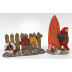 Polyresin Mini World Seaside - Surfboard & Parrot, Fence & Flip Flops (2 pcs), U03-0201232-0022