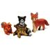 Polystone Mini Woodland Fox, Squirrel & Raccoon (3 pc set) U03-0201232-0193-3 piece set. Fox, Squirrel and Raccoon atop a tree trunk. Garden Decor.