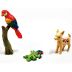 Polystone Mini Fiesta Animals (3 pc set) U03-0201232-0393-Set of 3 miniature animals. Dog, Parrot, Lizard