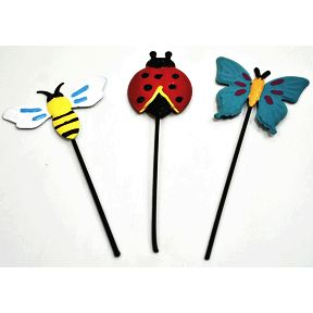 Iron Mini Fairytale Insect Stakes, 3 pc set U03-0204232-0093-Set of 3 mini iron insects on stakes. Lady Bug, Bee, and Butterfly. Garden décor.