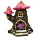 Polystone Mini Fairytale Tree House U03-0301232-0090-a single mini Fairytale tree house. Garden decor.