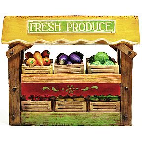 Polystone Mini Country Fresh Produce Stand, 5 pc set U03-0301232-0095-5 pc mini set of produce stand and produce. Garden décor.