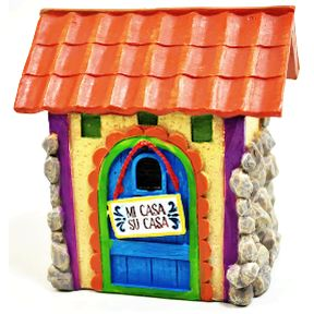 Polystone Mini Fiesta Stone Casa U03-0301232-0390-a single miniature Fiesta style house. Garden Décor.