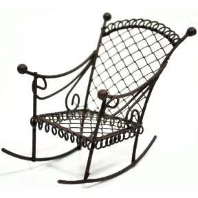 Iron Mini Garden Rocking Chair U03-0404232-0090-a single mini rocking chair. Garden décor.