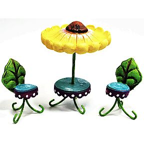 Polystone Mini Fairytale Table & Chairs (3 pc set) U03-0411232-0093-3 piece set of Fairytale Table and 2 chairs. Garden Décor.