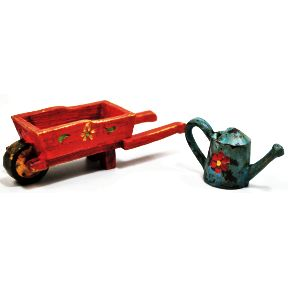 Polystone Mini Country Watering Can & Wheelbarrow, 2 pc set U03-0501232-0192-2 piece set. Mini watering can & wheelbarrow. Garden décor.