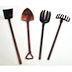 Iron Mini Garden Tools (4 pc set) U03-0503232-0064-4 piece set. Shovel, pitchfork, hoe and rake. Garden décor.